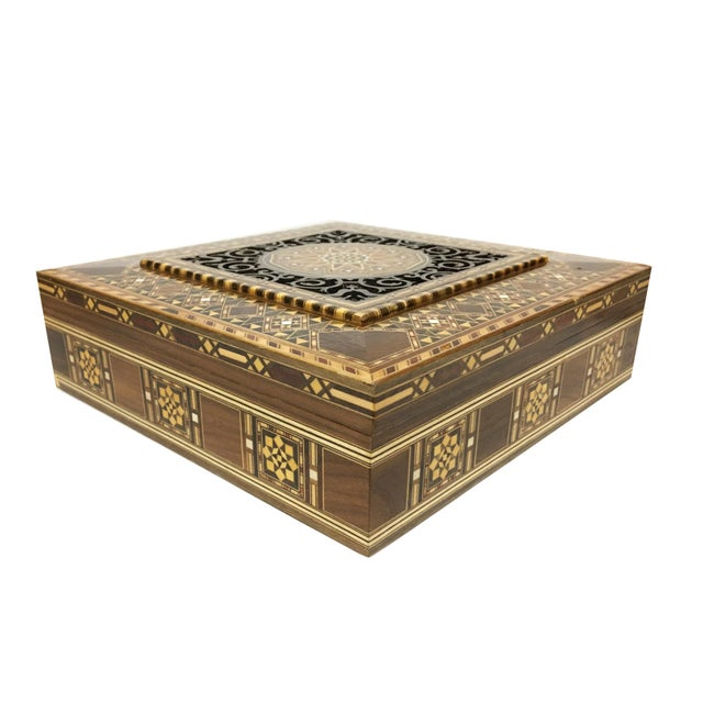 Middle Eastern Handmade Engraved Inlaid Mosaic Wooden Box For Sale - Image 4 of 9