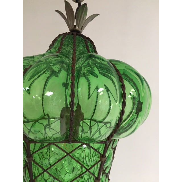 1960s Vintage Murano Baloton Glass Green Single Light Ceiling Pendant For Sale - Image 5 of 8