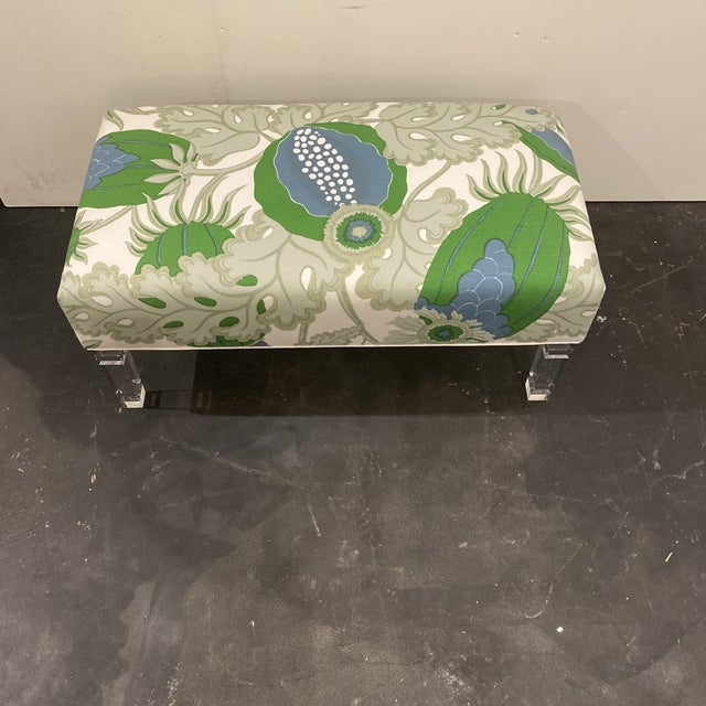 Custom Bench With Lucite Legs For Sale - Image 9 of 11