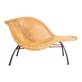 Vintage Mid Century Modern Wicker Chaise Lounge After Eames La Chaise For Sale