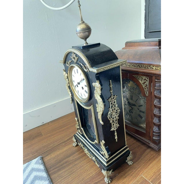 Rococo Antique Mid 19th Century French Mantel Clock With Case For Sale - Image 3 of 11