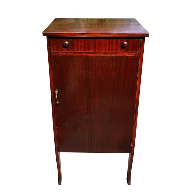 Victorian Antique Mahogany Empire Sheet Music Vinyl Record Cabinet by Udell Works For Sale - Image 3 of 12