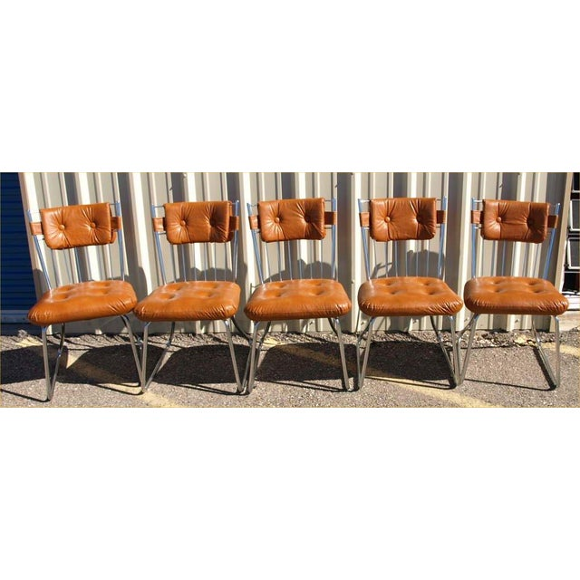 Daystrom Chrome And Vinyl Padded Chairs - Set of 5 - Image 4 of 8