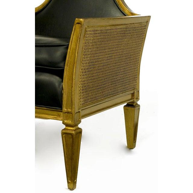 Antique Gilt Finish & Black Naugahyde Moorish Style Lounge Chair For Sale - Image 9 of 10