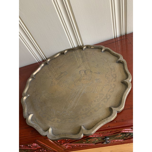 1950s Midcentury Asian Chinoiserie Brass Etched Tray For Sale - Image 5 of 13