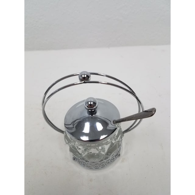 1910s Antique English Jelly Condiment Jar With Silver Plate Top and Spoon For Sale - Image 5 of 10