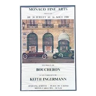 "1980s ""Boucheron in Monaco"" Monte Carlo Sporting D'Hiver, Place Du Casino Original Gallery Poster For Sale"