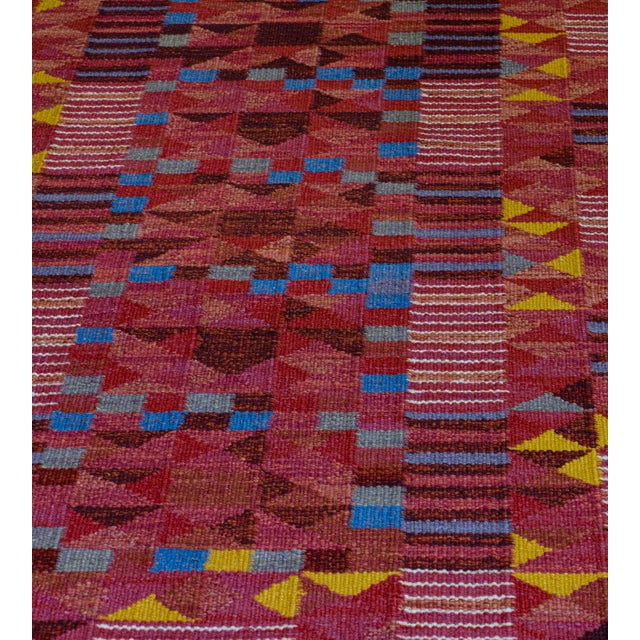 MANSOUR Hand-Woven Swedish Style Wool Flat-Weave Rug For Sale - Image 4 of 7
