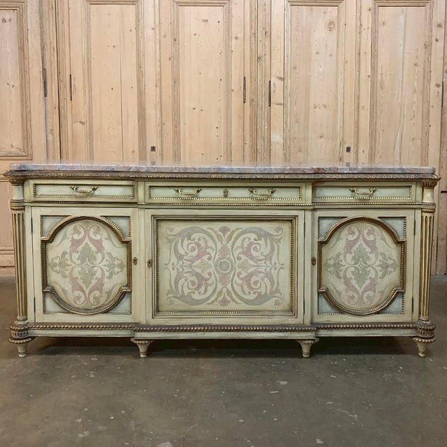 Antique Italian Marble Top Painted Buffet For Sale - Image 13 of 13