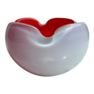 1970s Red and White Mid Century Cased Murano Ashtray For Sale
