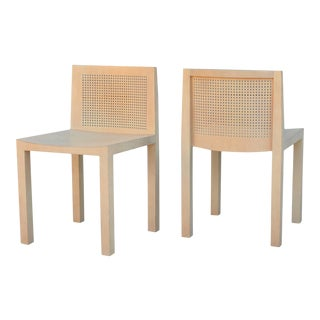 1980s Vintage Minimalistic Beechwood Side Chairs- A Pair For Sale
