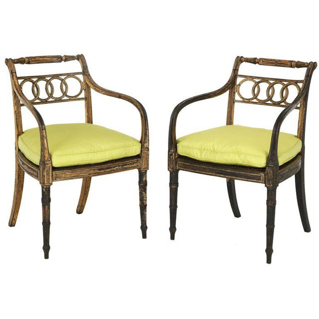 Pair of English Regency Painted and Parcel-Gilt Side Chairs For Sale - Image 10 of 10