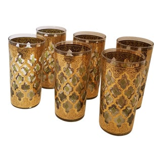 Mid Century Modern Culver Gold and Green Valencia Highball Glasses - Set of 6 For Sale