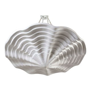 Mammoth White Ribbed Plaster Shell Pendant For Sale