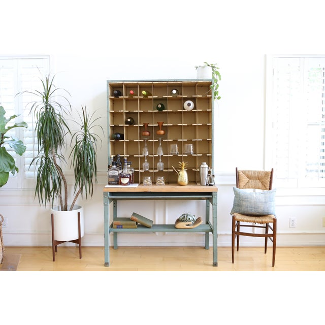 Vintage Industrial Mail Sorter Bar Shelf / Cabinet Desk For Sale - Image 4 of 7