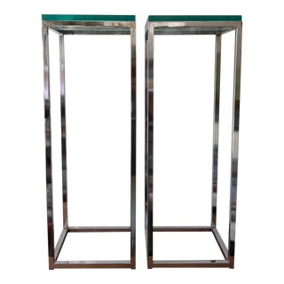 1970s Modern Chrome and Glass Pedestals - a Pair For Sale