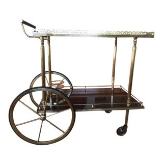 Mid-Century Brass & Lacquered Wood Bar Cart