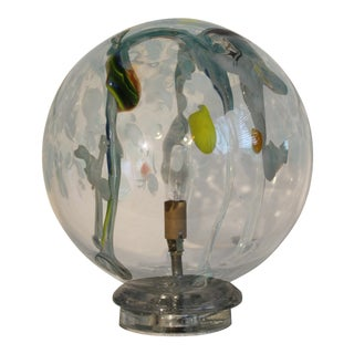 1960's Murano Glass Transparent & Abstract Sphere