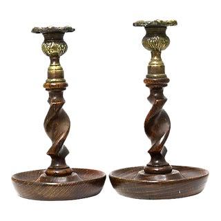 19th-C. English Oak & Brass Twist Candlesticks - a Pair For Sale