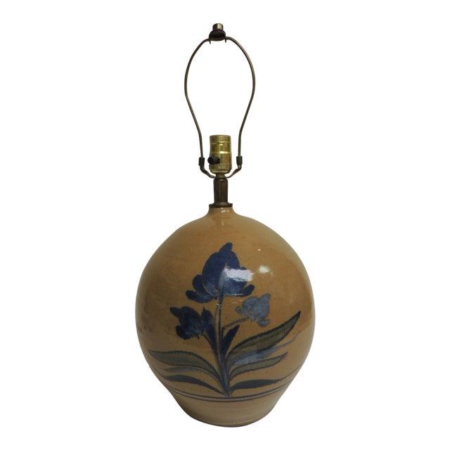 Vintage Round Stoneware Table Lamp - Image 1 of 5