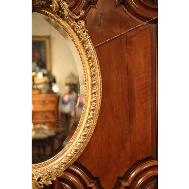 Gold 19th Century French Louis XV Oval Gold Leaf Beveled Mirror with Carved Shell For Sale - Image 8 of 9