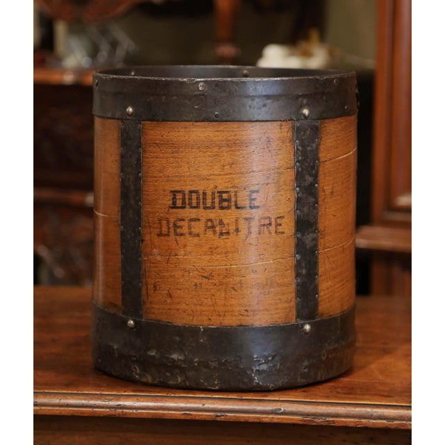 Mid 19th Century Mid-19th Century French Walnut and Iron Grain Measure Basket With Inside Handle For Sale - Image 5 of 11