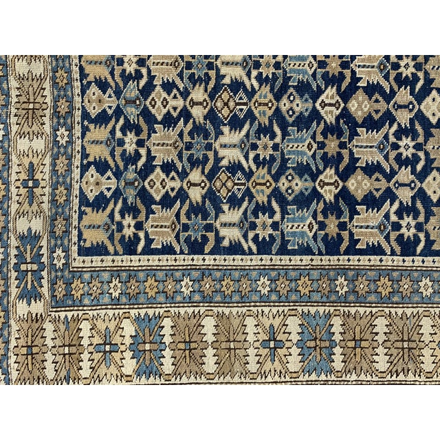 Green Late 19th Century Antique Russian Caucasian Rug- 3′10″ × 5′3″ For Sale - Image 8 of 11
