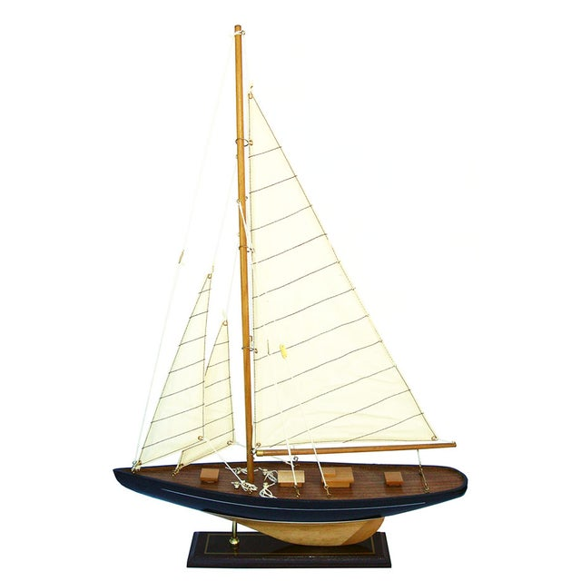 Handmade Wooden Sailboat Model - Image 1 of 4