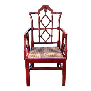 Chinese Chippendale Style Arm Chair With Cane Seat For Sale