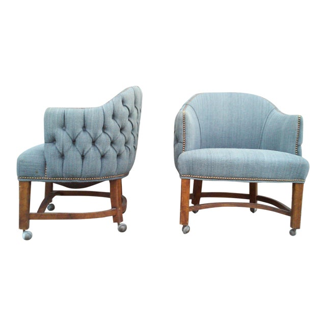 Blue Tufted Barrel Club Chairs - A Pair - Image 1 of 7