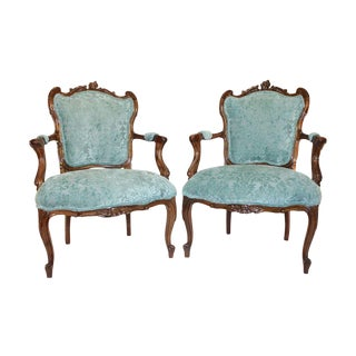 French Rococo Walnut Armchairs - A Pair For Sale