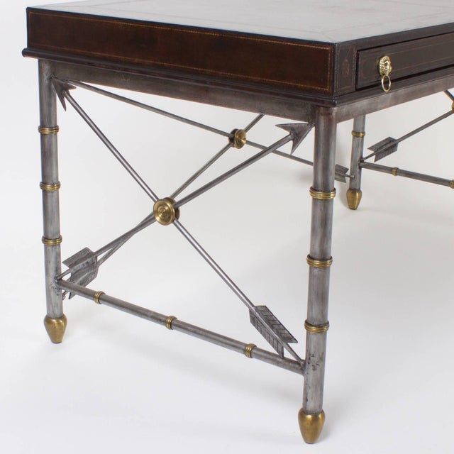 Mid-Century Modern Handsome Neoclassical Style Desk or Writing Table For Sale - Image 3 of 10