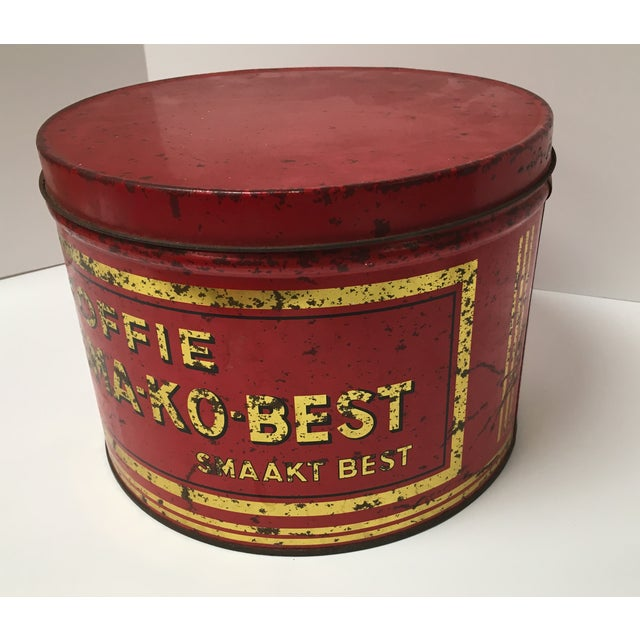 Vintage European Coffee Shop Red Display Tin For Sale - Image 4 of 7