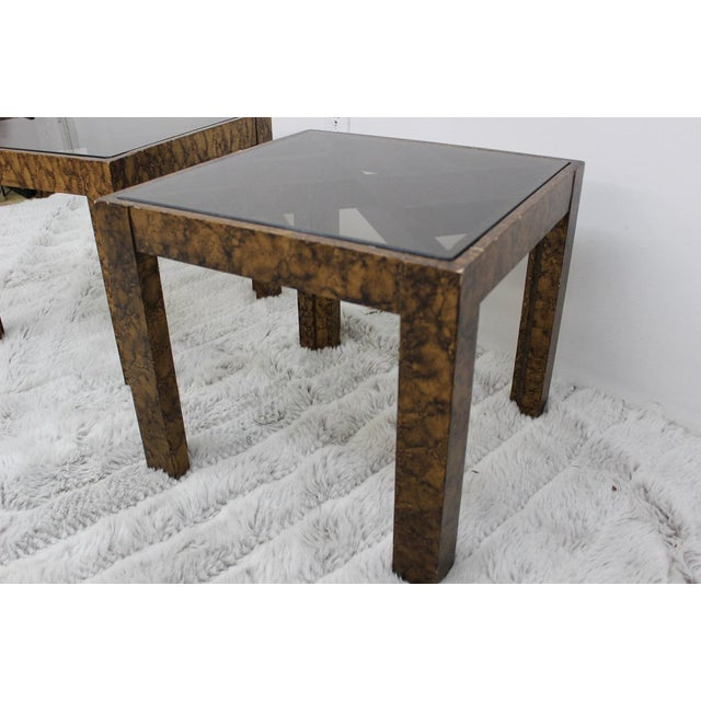 Mid Century Modern pair of end tables with glass tops For Sale - Image 5 of 10