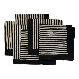 Black & White Striped Batik Napkins - Set of 6 For Sale