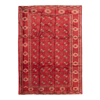 Red Tribal Afghan Hand-Knotted Rug For Sale