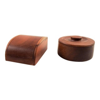Hand Made Wood Trinket Boxes - Set of 2 For Sale