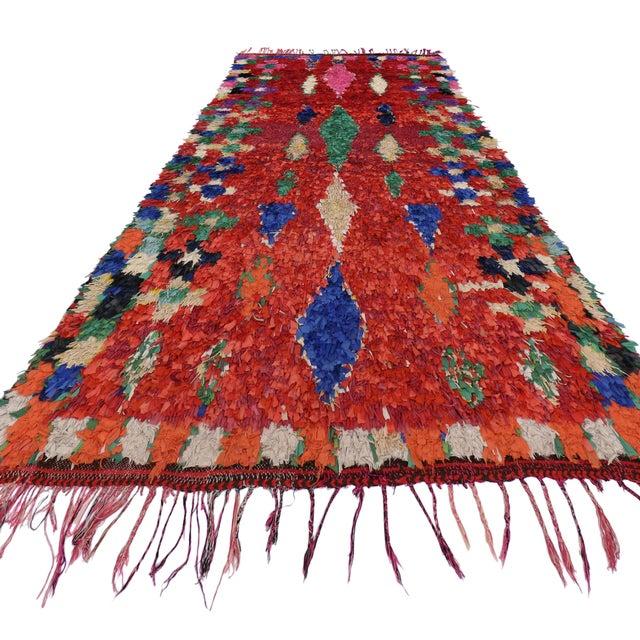 1980s Vintage Berber Moroccan Boucherouite Rug For Sale - Image 5 of 6