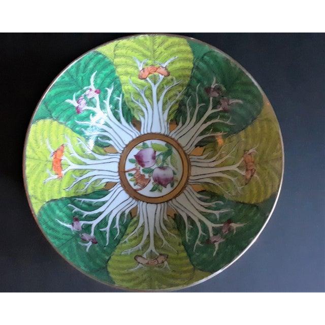 Vintage Porcelain Butterfly and Bok Choy Leaf Bowl For Sale - Image 9 of 9