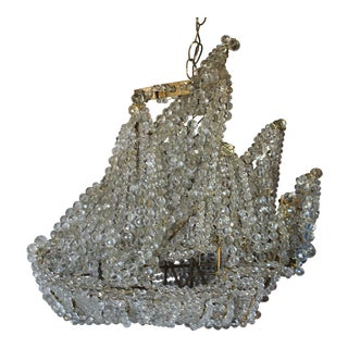 "1920s Antique French Art Deco Maison Bagues Crystal Beaded ""Famous Nautical Ship"" Chandelier For Sale"