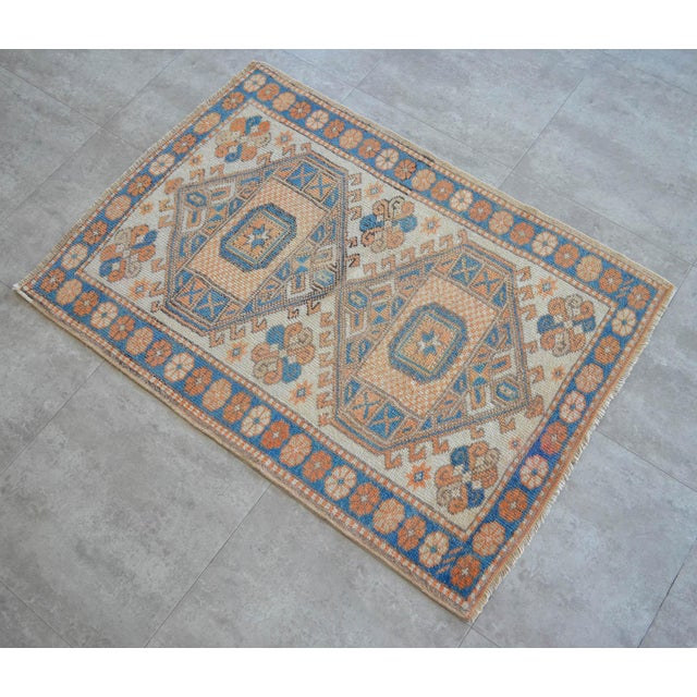 Offered is a gorgeous rug featuring center double medallion with serrated stepped outlines. Germinating planter and...