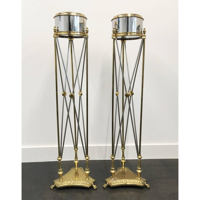 Gold Pair of Maison Jansen Style Jardinieres Planter For Sale - Image 8 of 8