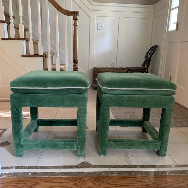 Swaim John Mascheroni for Swaim Emerald Green Velvet Parsons Stools - a Pair For Sale - Image 4 of 10