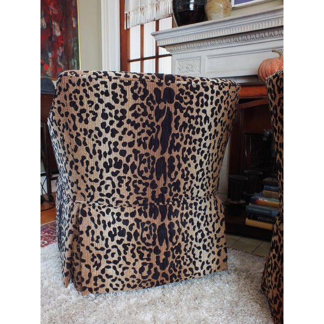 Vintage Leopard Swivel Club Chairs - Pair - Image 8 of 11