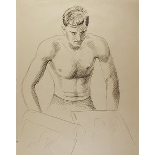 1950's Studio Drawing Male Figure Study For Sale