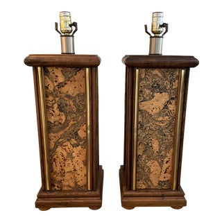 Mid Century Modern Harris Strong Style Wood and Cork Lamp Bases - a Pair For Sale