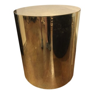 1970s Mid-Century Modern Curtis Jere Brass Drum Table For Sale