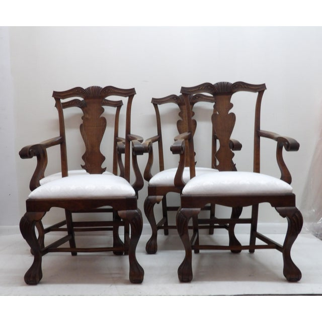 Brown Vintage Carved Wood Dining Chairs - Set of 4 For Sale - Image 8 of 8