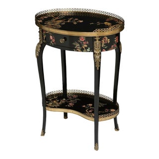 Handpainted Black Lacquer Floral Occasional Table For Sale