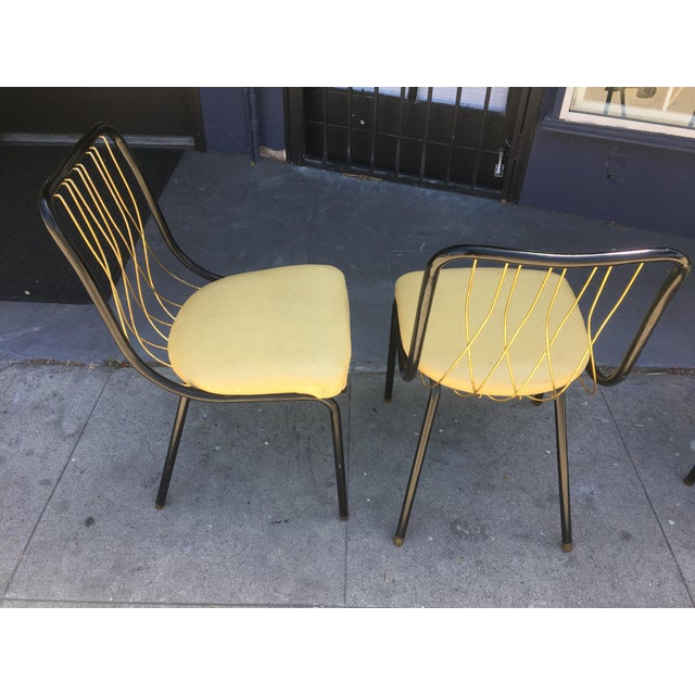 Mid-Century Black & Brass Chairs - Set of 4 For Sale - Image 4 of 8